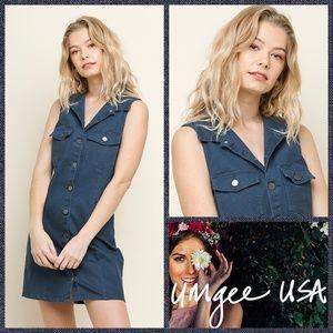 Umgee Button Front Sleeveless Mini Dress in Denim